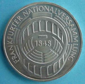 """5 DM Gedenkmünze """"Frankfurter Nationalversammlung 1848 in der Paulskirche"""""""