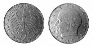 2 DM Münze Max Planck aus den Jahren 1957-1971