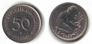 50 Pfennig Münze zwischen 1972 bis 2001