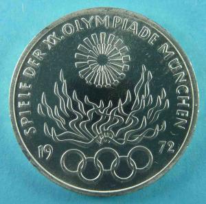 10 DM Gedenkmünze Olympiade 1972 – Olympisches Feuer