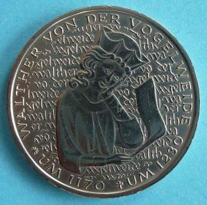 """5 DM Gedenkmünze """"Walther von der Vogelweide"""""""