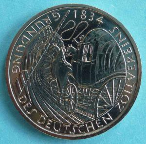 """5 DM Gedenkmünze """"Gründung des Deutschen Zollvereins 1834"""""""