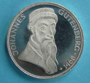 "5 DM Gedenkmünze ""Johannes Gutenberg"""