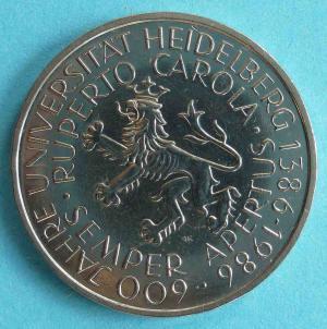 """5 DM Gedenkmünze """"600 Jahre Universität Heidelberg 1386 - 1986"""""""