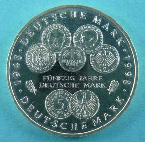 10 DM Gedenkmünze zu 50 Jahre Deutsche Mark