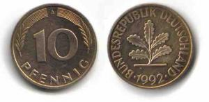 10 Pfennig Münze - 1950 bis 2001