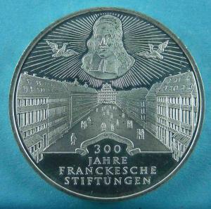 10 DM Gedenkmünze zu 300 Jahre Franckesche Stiftungen zu Halle