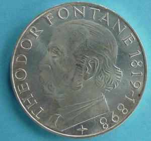 "5 DM Gedenkmünze ""Theodor Fontane"""