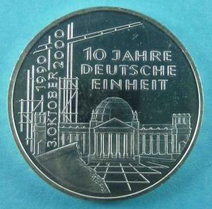 10 DM Gedenkmünze zum 10. Jahrestag der Deutschen Einheit