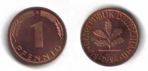 1-Pfennig-Münze aus den Jahren 1948-1949