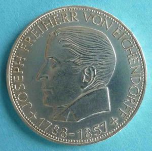 """5 DM Gedenkmünze """"Joseph Freiherr von Eichendorff"""""""