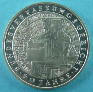 10 DM Gedenkmünze 50 Jahre Bundesverfassungsgericht
