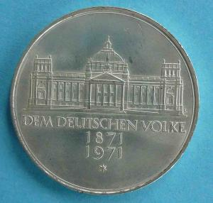 "5 DM Gedenkmünze ""Reichsgründung"""