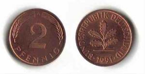 2-Pfennig-Münze von 1950 bis 1969