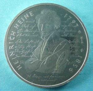 10 DM Gedenkmünzen In Gedenken an Heinrich Heine