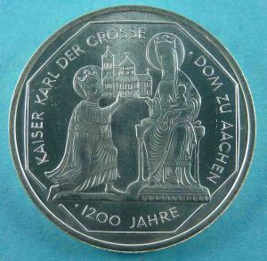 10-DM Gedenkmünze zum 1200-jährigen Bestehen des Aachener Doms