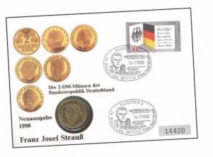2 DM Münze Franz Josef Strauß Prägezeitraum von 1990 bis 2001