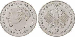 2 DM Münze Theodor Heuss von 1970 bis 1987