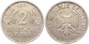 2 DM Münze Ähren von 1951