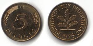 5 Pfennig Kursmünze von 1950 bis 2001