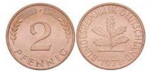 2 Pfennig Münze von 1967 bis 2001