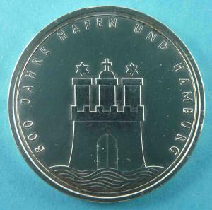 10 DM Gedenkmünze 800 Jahre Hamburger Hafen