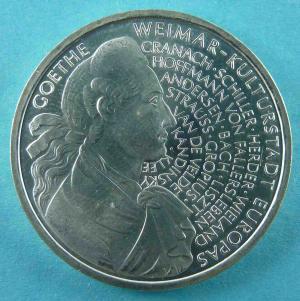 10 DM Gedenkmünze zur Ehre der europäischen Kulturhauptstadt Weimar